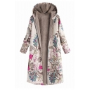 Ethnic Women's Long Sleeve Hooded Floral Patterned Zipper Front Pockets Side Baggy Midi Shearling Liner Coat