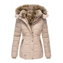 Women's Basic Winter Long Sleeve Hooded Button Zip Front Pockets Side Fluff liner Slim Fit Plain Puffer Coat
