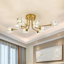 Traditional Curved Arm Semi Flush Light Fixture 8 Heads Dimpled Crystal Ceiling Light in Gold