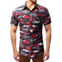 Unique Camouflage Shark Pattern Short Sleeve Button Up Slim Fit Black and Red Shirt for Men
