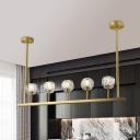 K9 Crystal Gold Island Lighting Fixture Linear 5 Heads Postmodern Ceiling Light