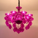 6 Heads Crystal Drop Hanging Light Kit Traditional Blue/Red/Purple Candelabra Living Room Chandelier Lamp