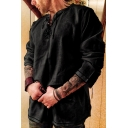 Mens Retro Embroidery Totem Pattern Lace Up Front Long Sleeve Plain Blouse Shirt