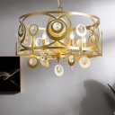 Drum Crystal Embedded Chandelier Pendant Light Traditional 4/6 Heads Bedroom Ceiling Lamp in Gold