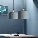 Drum Pendant Light Fixture Minimalist Metal 1 Light Dining Room Hanging Lamp in Grey