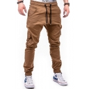 Mens Stylish Plain Drawstring Waist Flap Pocket Relaxed Fit Cargo Pants