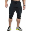 Mens Leisure Colorblocked Panel Drawstring Waist Sport Fitness Cropped Pants