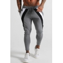 Mens Stylish Contrast Striped Drawstring Waist Skinny Fit Sweatpants with Pocket