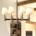 Fabric Barrel Hanging Light Kit Modern 6/8 Heads White Chandelier Lighting for Living Room