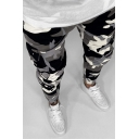 Black Fashion Camouflage Printed Zipper Fly Skinny Jeans Cargo Pants for Men