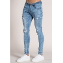 Mens Street Style Whole Colored Zipper Fly Ripped Bleach Wash Skinny Jeans