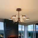 Curve Arm Chandelier Lighting Contemporary Metal 5/6 Lights Black Hanging Light Fixture in Warm/White Light