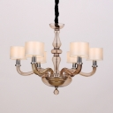 Armed Chandelier Lamp Traditionary White Glass 6/8/12 Heads Pendant Light Fixture with Drum Fabric Shade
