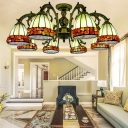 Antique Bronze 3/5/8 Lights Chandelier Light Mediterranean Stained Glass Spots/Gem Hanging Lamp Kit