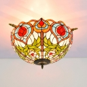 Brass Bowl Shape Ceiling Lamp Baroque 5 Bulbs Multicolored Stained Glass Flush Mount Lighting
