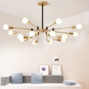 Brass Radial Chandelier Lamp Metal Post Modern Indoor Hanging Light for Living Room