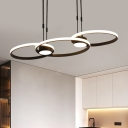 3/4 Rings Chandelier Lighting Fixture Simple Acrylic Gold/Black LED Hanging Ceiling Light