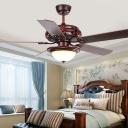 Vintage Bowl Ceiling Fan Lamp LED Wooden Semi Flush Mount Light Fixture in Red Brown