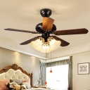 Traditional Bell Ceiling Fan 3 Heads Opal Handblown Glass Semi Flush Chandelier in Red Brown, Pull Chain/Remote Control