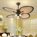 Traditional Bell Ceiling Fan Lighting 3 Heads Clear Dimple Glass Semi Flush Mount Light Fixture in Beige