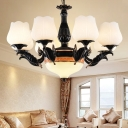 Opal Glass Black Hanging Chandelier Blossom 4/6/7 Lights Vintage Suspension Pendant for Living Room