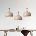 1 Bulb Dining Room Ceiling Lamp Modern Brown Hanging Light Fixture with Domed Metal Shade