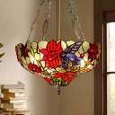 Bowl Semi Flush Light Fixture Tiffany Stained Glass 3 Heads Red Ceiling Light for Living Room