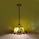Green 1 Light Pendant Lamp Mediterranean Stained Glass Conical Hanging Light Ki