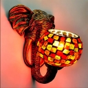 Tiffany Elephant Head Sconce Light 1 Light Stained Glass Wall Lighting Idea in Blue/Red/Yellow for Dining Room
