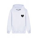 Lovely Heartbeats Print Chest Long Sleeve Pocket Side Unisex Pullover Hoodie