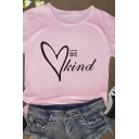 Hot Popular Letter BE KIND Heart Pattern Short Sleeves Crewneck Summer T-Shirt