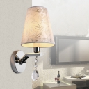 1 Bulb Cone LED Wall Sconce Traditional Beige Crystal Wall Light with Fabric Shade for Bedroom