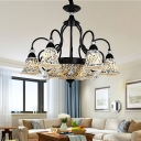 Stained Glass Black Chandelier Lighting Bell 6/9/11 Lights Tiffany Pendant Ceiling Light for Living Room