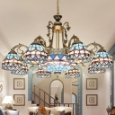 9/11 Lights Pendant Chandelier Tiffany Dome Shaped Hand Cut Glass Down Lighting in Blue for Living Room