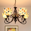 Beige Domed Chandelier Lighting Fixture Tiffany 3/5/6 Lights Shell Hanging Ceiling Light for Living Room
