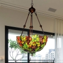 Leaf Stained Glass Chandelier Lighting Tiffany 2/3 Bulbs Green Ceiling Pendant for Living Room