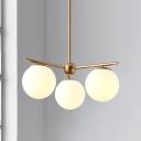 3 Heads Spherical Ceiling Chandelier Modernist Milky Glass Hanging Pendant Light in Gold