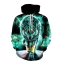 Green Wolf 3D Pattern Long Sleeve Relaxed Fit Drawstring Sports Hoodie
