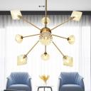Contemporary Diamond Chandelier Lamp Amber/Clear Glass 9 Bulbs Living Room Pendant Lighting Fixture