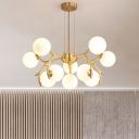 Opal Glass Global Hanging Chandelier Modernism 10 Bulbs Gold Ceiling Suspension Lamp
