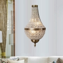 Beaded Crystal Wall Lighting Fixture Traditional 2 Lights Bedroom Sconce Light in Brass