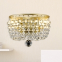 Bowl Dining Room Wall Lighting Idea Minimalist Crystal 1 Light Brass Sconce Light Fixture