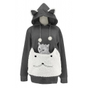 Lovely Cat Ear Drawstring Hood Long Sleeve Fuzzy Patched Pet Pocket Carrier Hoodie