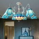 Tiffany-Style Conical Pendant Chandelier 7/9 Heads Hand Rolled Art Glass Hanging Ceiling Light in Yellow/Blue for Living Room