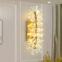 8 Lights Sputnik Wall Sconce Lighting Traditional Gold Clear K9 Crystal LED Wall Light Fixture for Living Room
