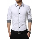 Business Fashion Contrast Trim Long Sleeve French Cuff Button Down Slim Fit Formal Shirt