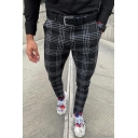 Mens Popular Checked Pattern Zipper Fly Skinny Fit Black Casual Pencil Pants