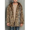 New Fashion Brown Leopard Pattern Long Sleeve Plush Fuzzy Tunic Hooded Coat