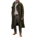 Men's Winter Popular Solid Color Long Sleeve Notched Collar Wool Overcoat