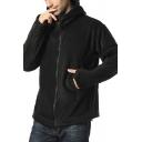 Men's Warm Glove Long Sleeve Zip-Up Loose Fit Hooded Jacket Solid Color Fleece Coat